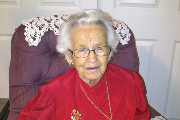 Myrtle Jouffret, a resident at Cedarview Gracious Retirement Living in Woodstock, Ontario
