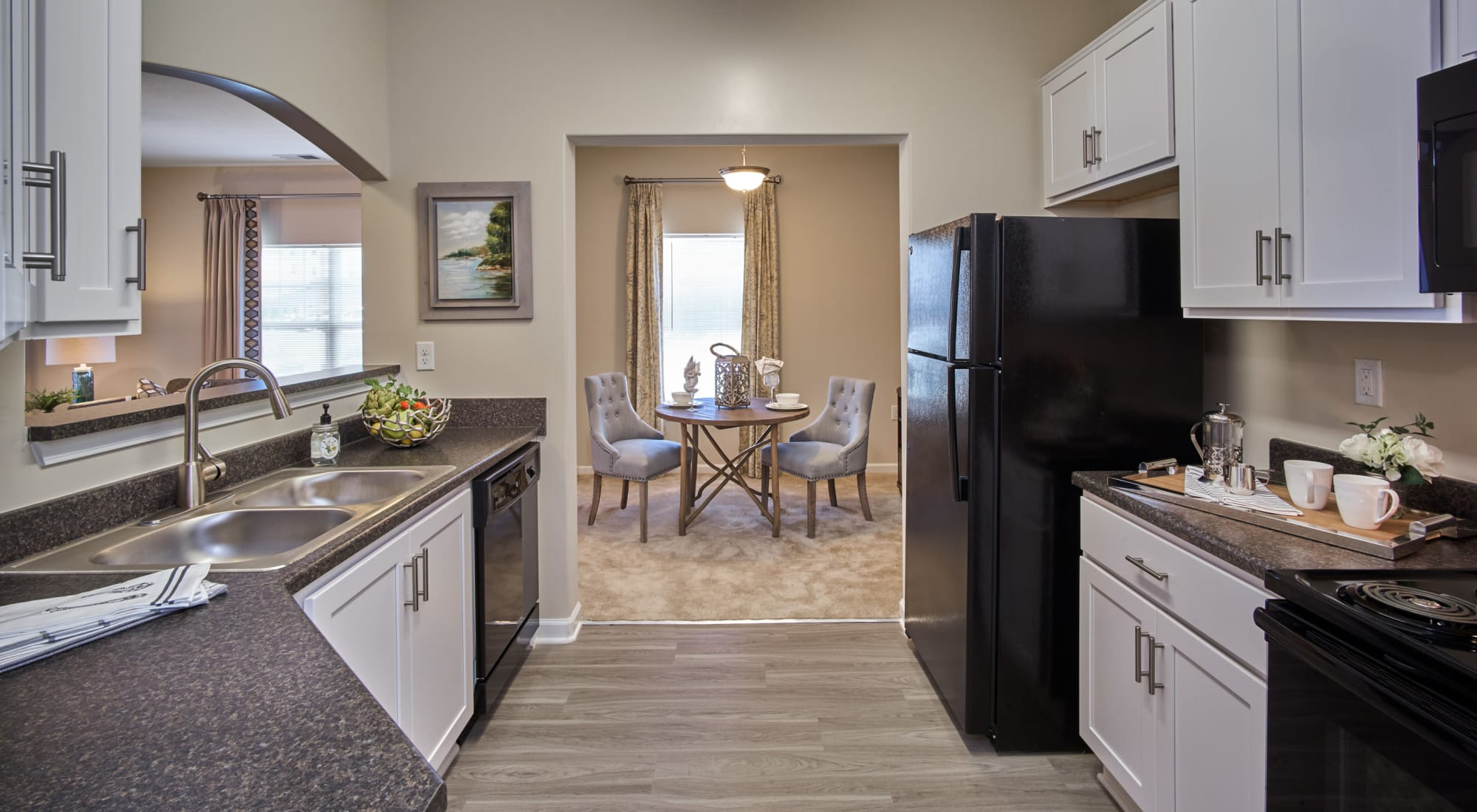 Large spacious kitchen with a pass-through window at Meridian Obici in Suffolk, Virginia