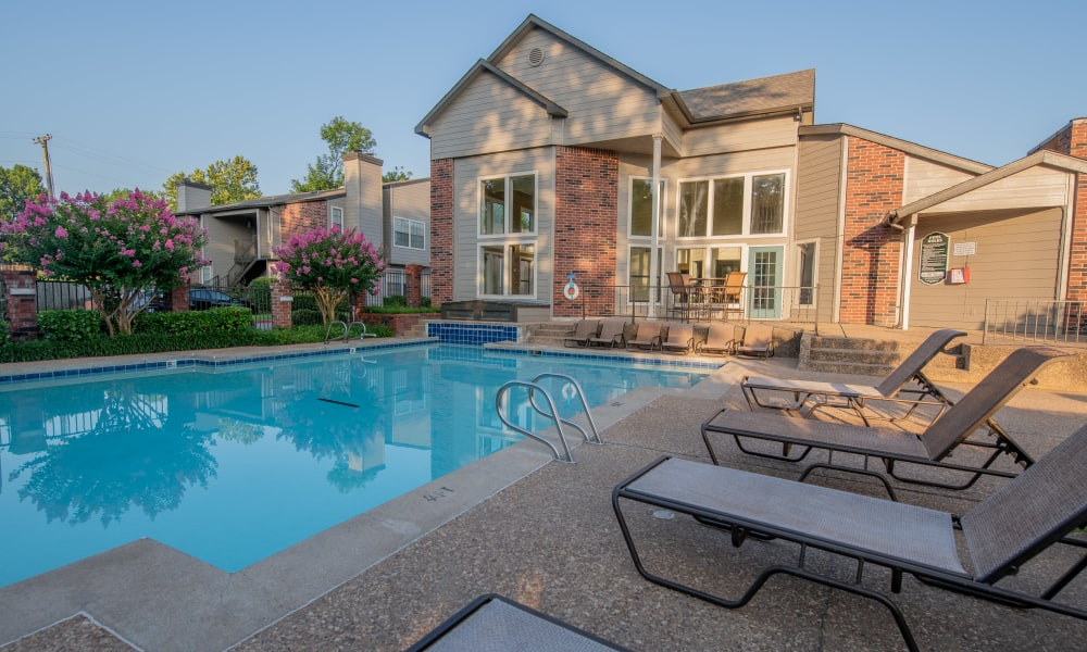Beautiful pool at Creekwood Apartments in Tulsa, Oklahoma