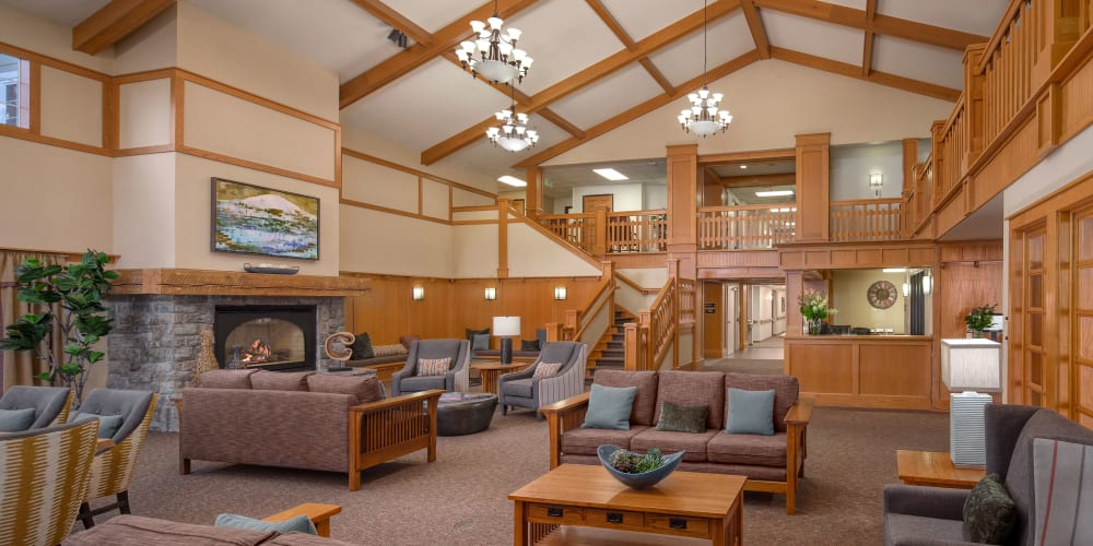 Gorgeous front lobby at The Springs at Clackamas Woods in Milwaukie, Oregon