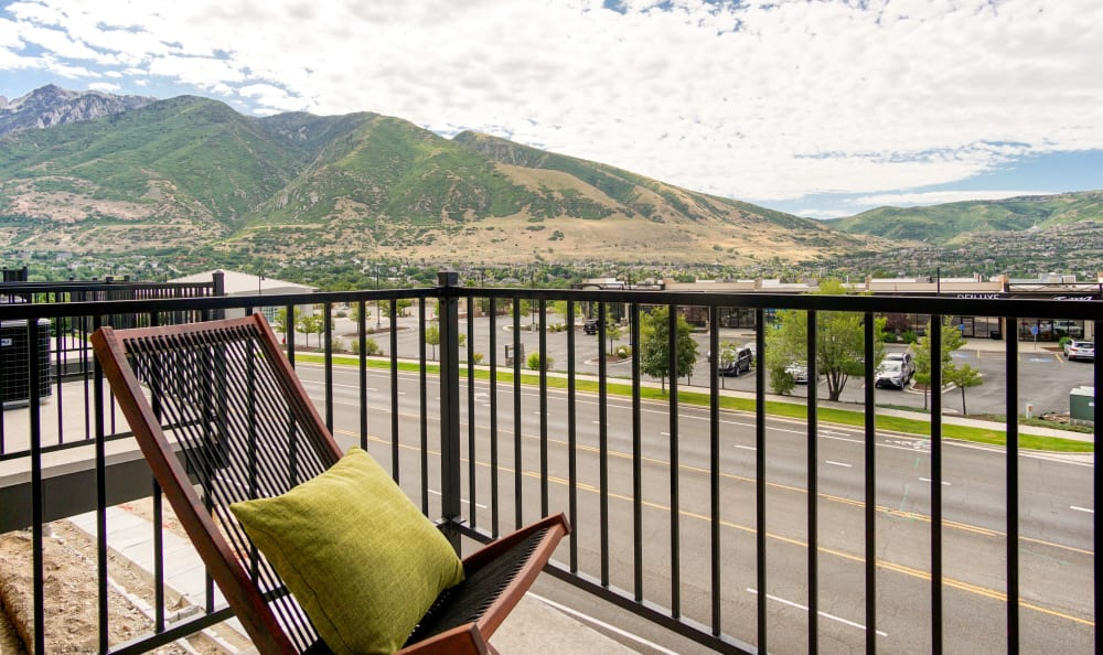 Balcony view in apartment at Liberty Point Townhome Apartments in Draper, Utah