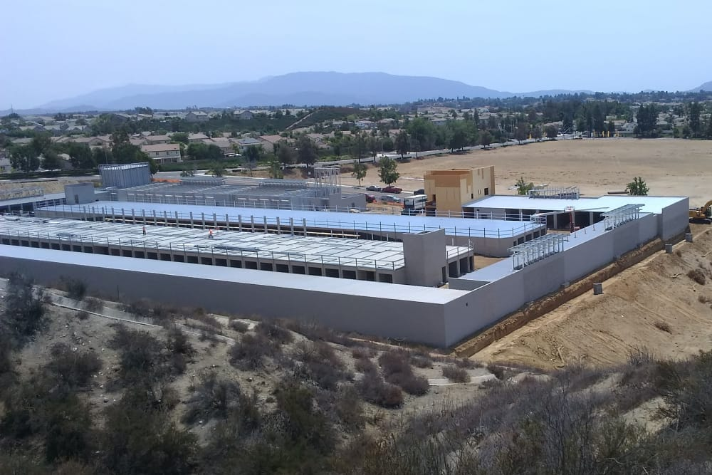Wide angle view of Silverhawk Self Storage construction.