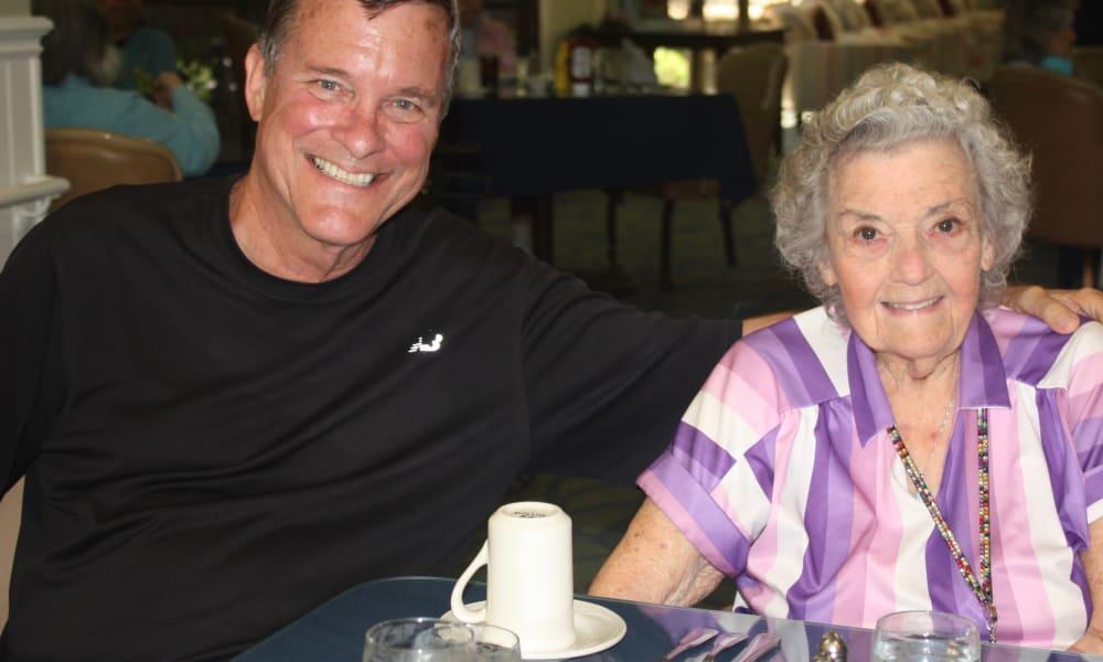 Senior lady and young man at Regency Park Astoria in Pasadena, California