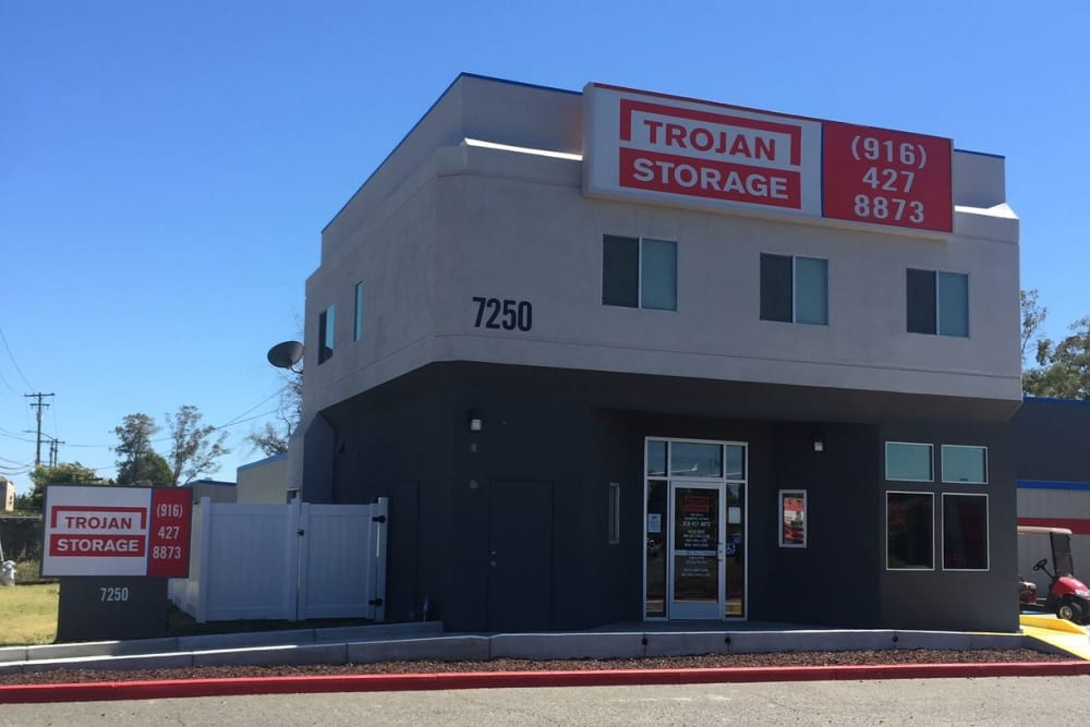 Exterior of the office at Trojan Storage in Sacramento, California