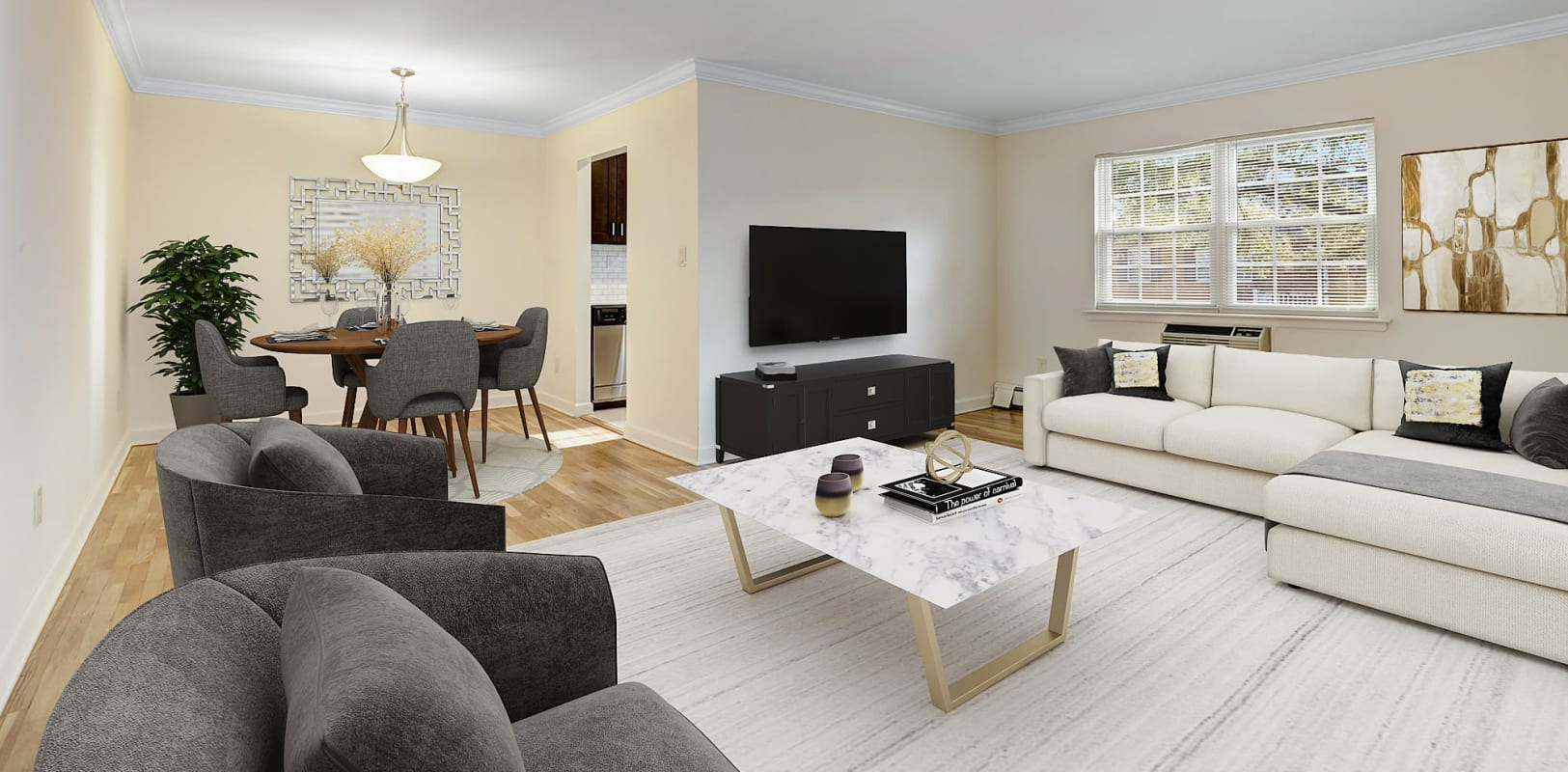 Large living room with easy entrance into the dining room at Park Lane Apartments in Little Falls, New Jersey