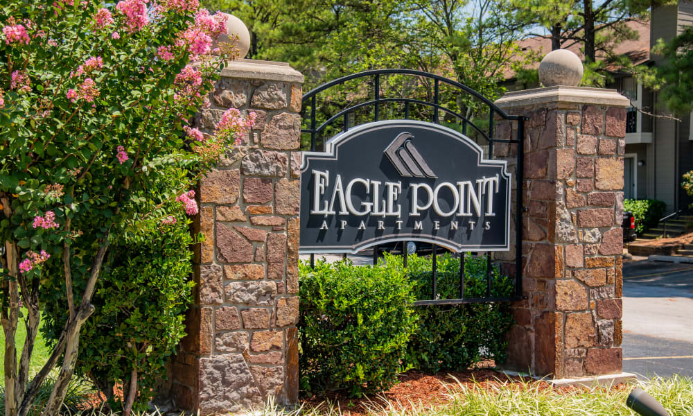 Property sign at Eagle Point Apartments in Tulsa, Oklahoma