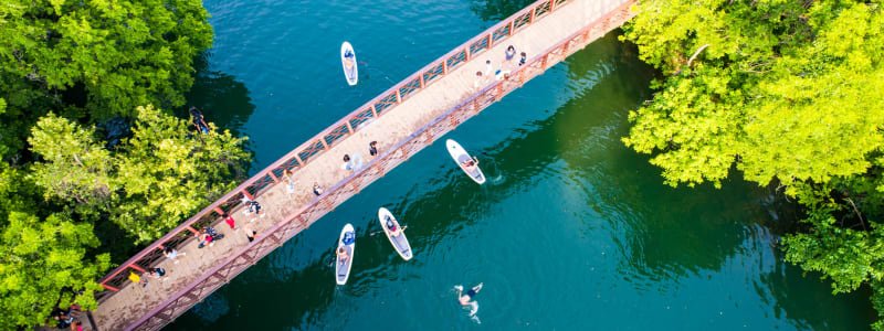 Aerial view of a bridge in Austin, Texas near Regents West at 26th