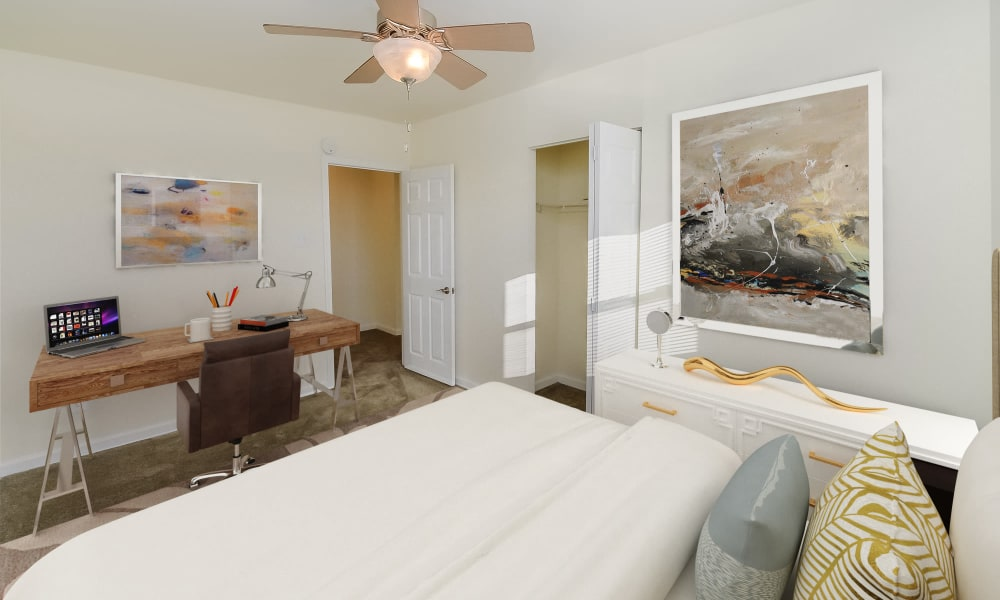 Bedroom at Hill Brook Place Apartments in Bensalem, Pennsylvania