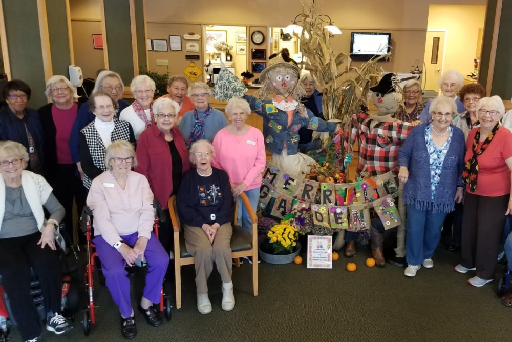 A group of residents decorating for fall at Merrill Gardens at Renton Centre in Renton, Washington.
