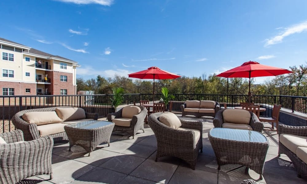 Roof top terrace seating at Keystone Place at Richland Creek in O'Fallon, Illinois