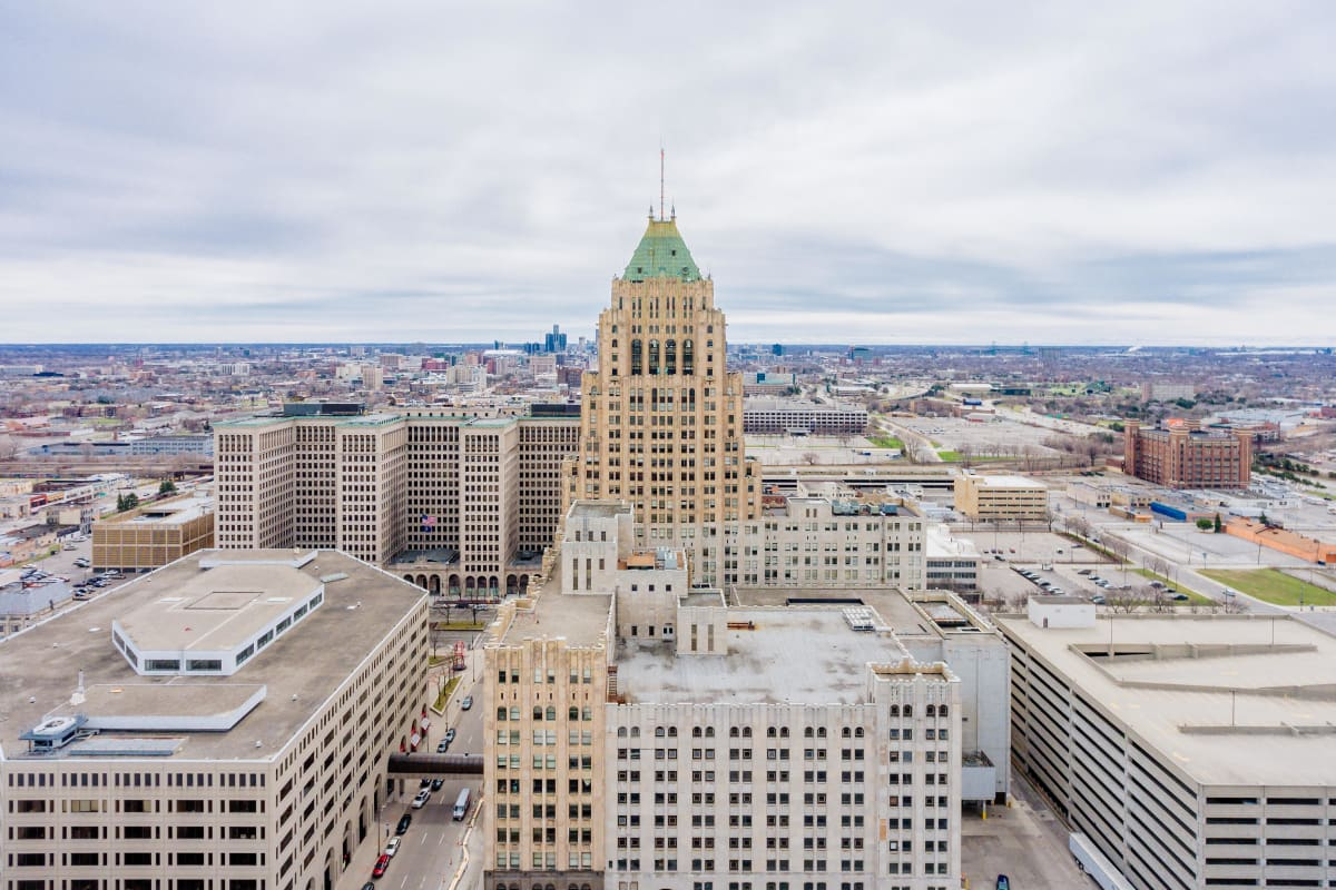 View of the city near The Kahn in Detroit, Michigan