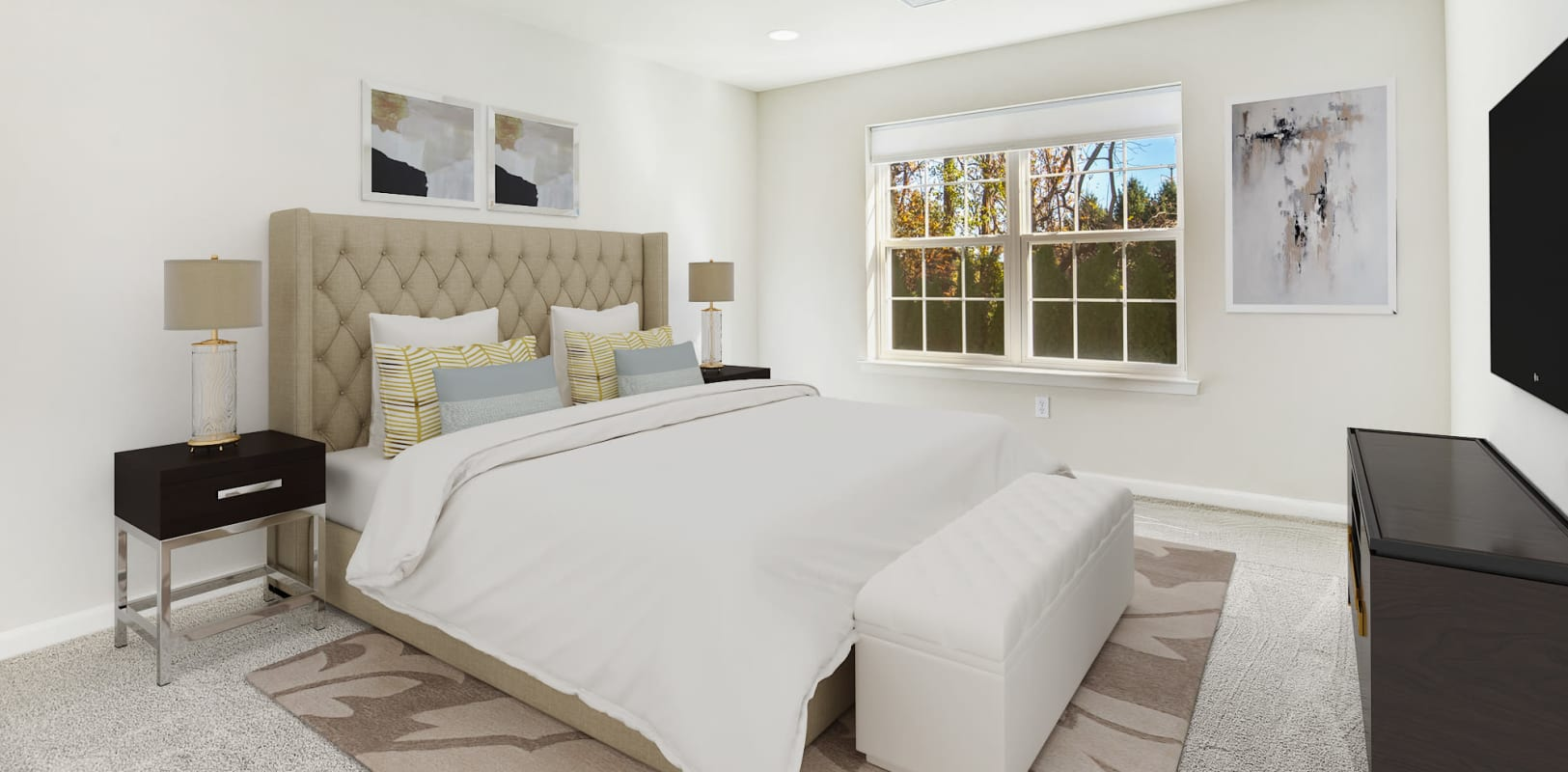Comfortable bedroom with plush carpeting at Hanover Glen in Bethlehem, Pennsylvania