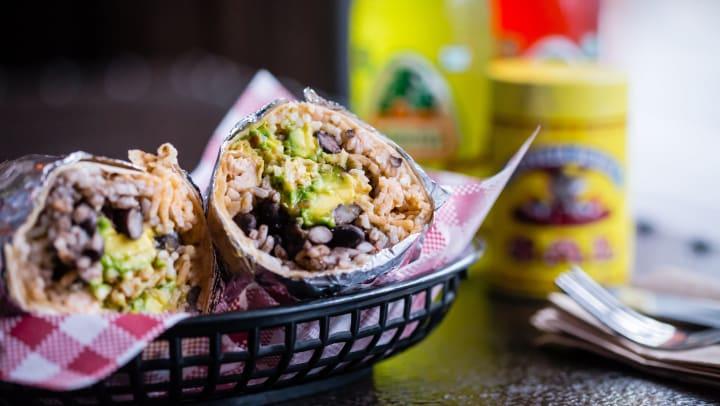 Freshly prepared burrito at a local