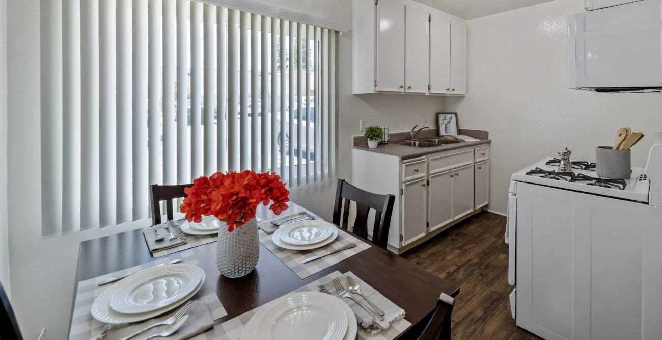 Model dining area and kitchen at The Terrace in Tarzana, California