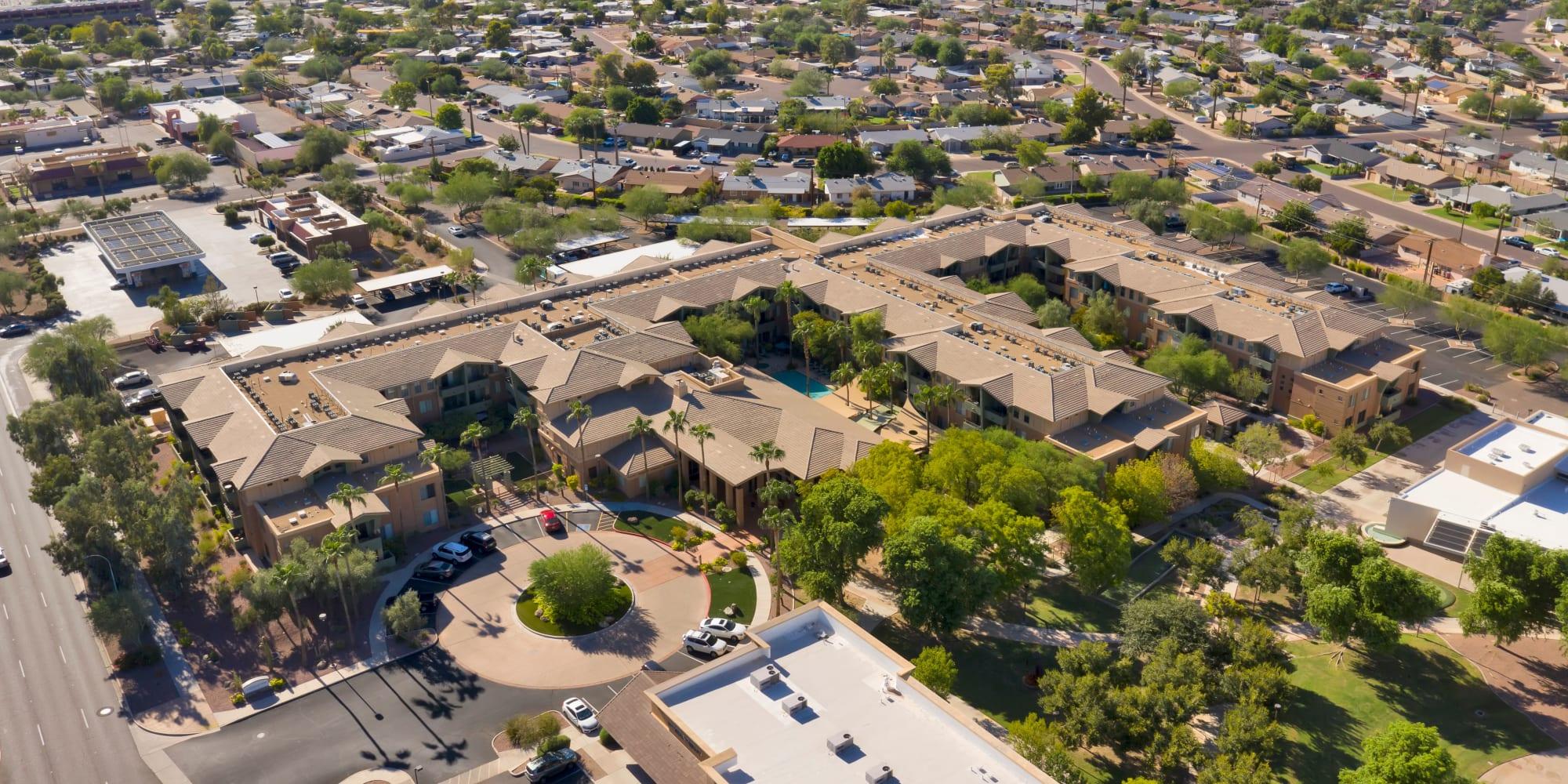 Aerial shot of McDowell Village in Scottsdale, Arizona