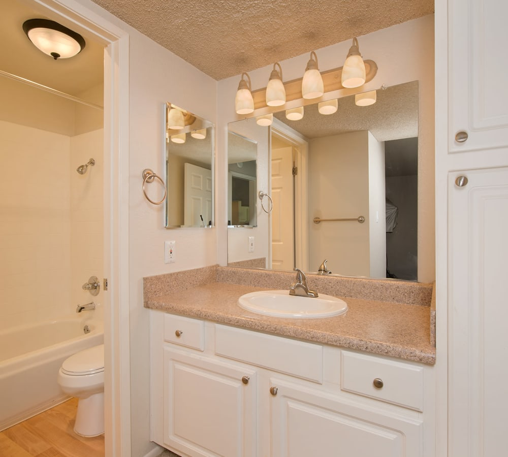 The master bathroom of a standard apartment at La Valencia Apartment Homes in Campbell, California