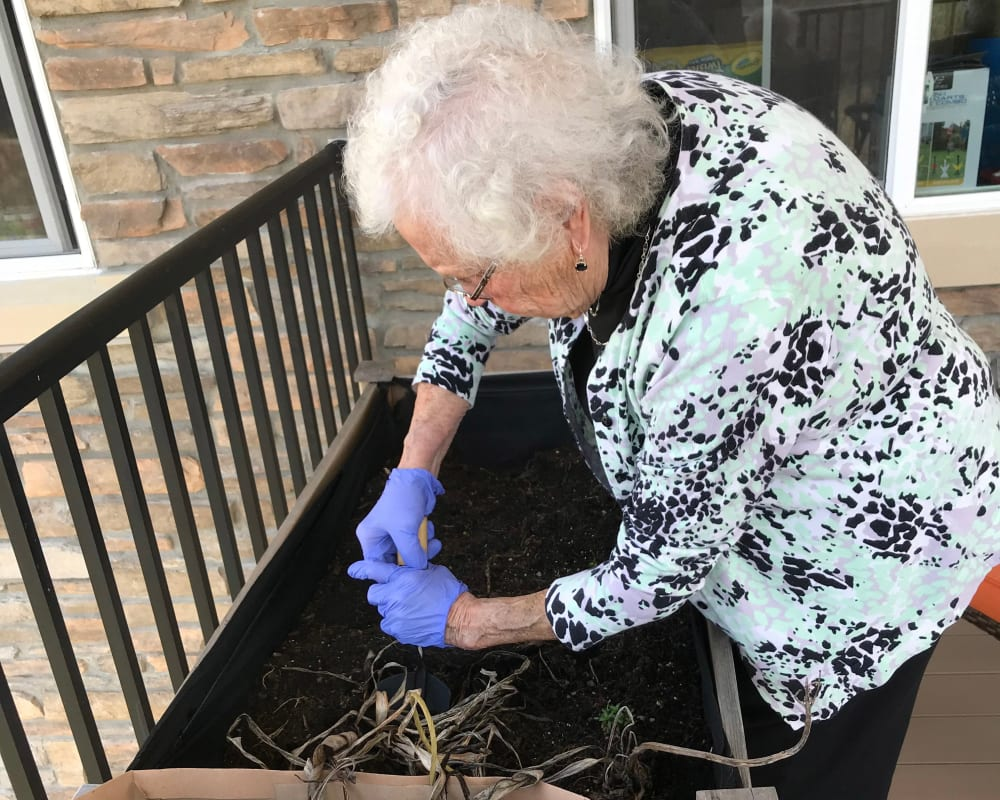 Resident gardening at Edencrest at Green Meadows in Johnston, Iowa.