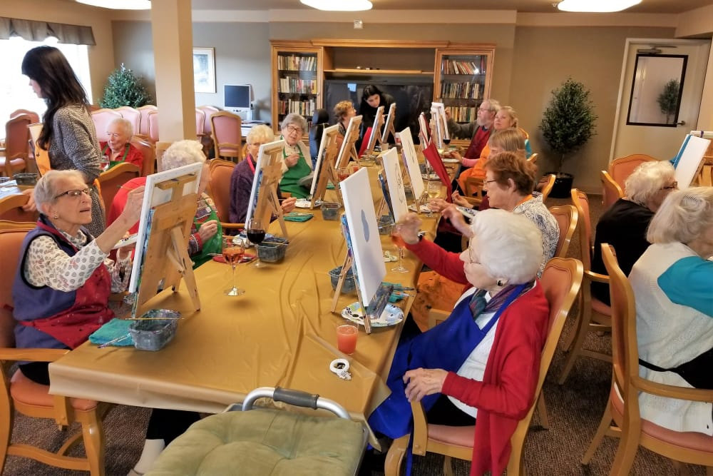 Residents painting at Renton Centre
