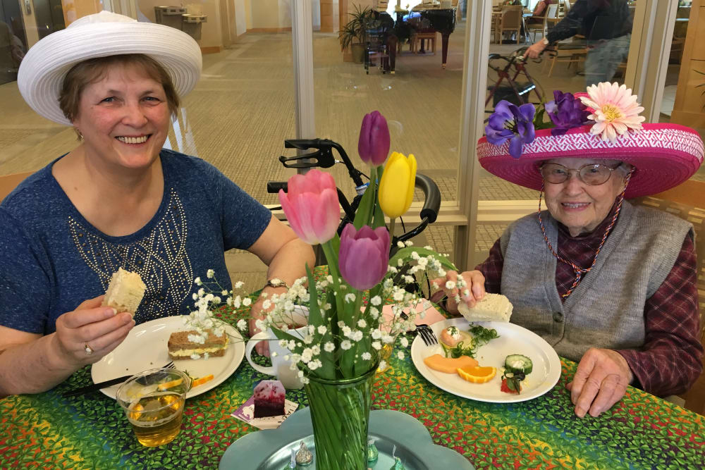Two ladies enjoying afternoon tea celebration in Auburn, WA
