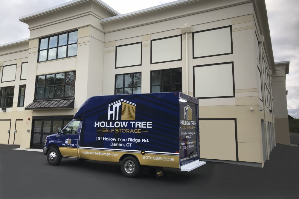 Moving truck at Hollow Tree Self Storage in Darien, Connecticut