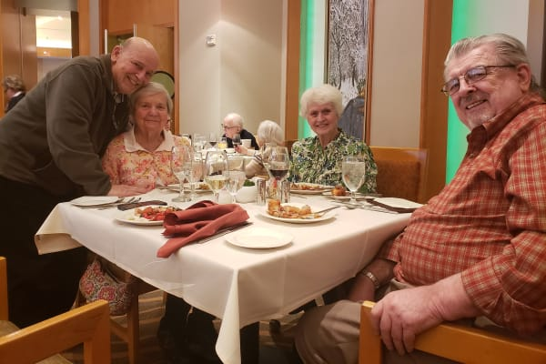 Residents at All Seasons of Rochester Hills's nightcap social event in Rochester Hills, Michigan