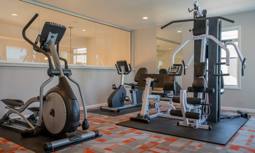 Fitness center in clubhouse at Fox Run Apartments in Wichita, Kansas