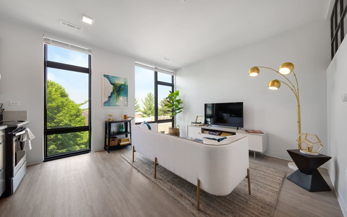 Large floor to ceiling windows at Arthaus Apartments in Allston, Massachusetts