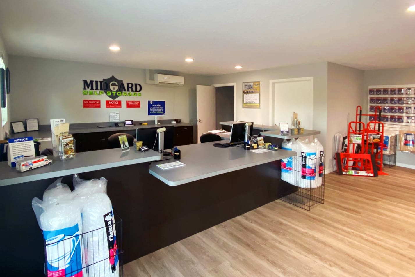 Leasing office and merchandise at Midgard Self Storage in Cocoa, FL