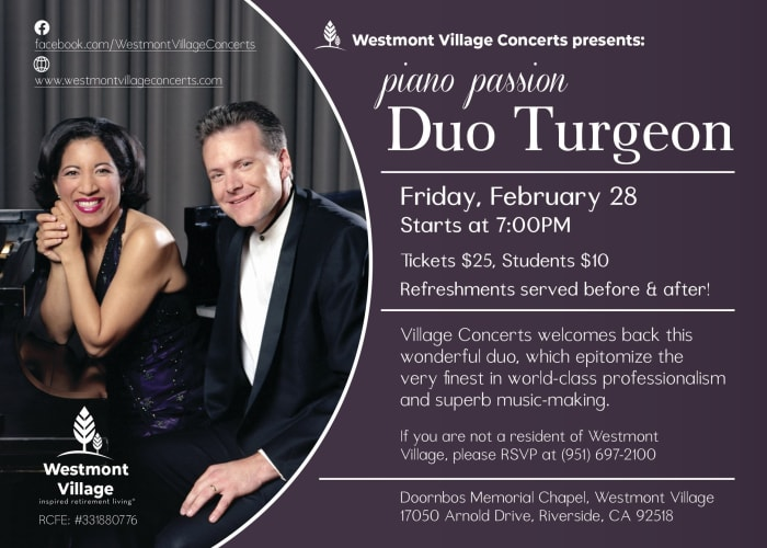 Piano Passion Duo Turgeon at Westmont Village in Riverside, California