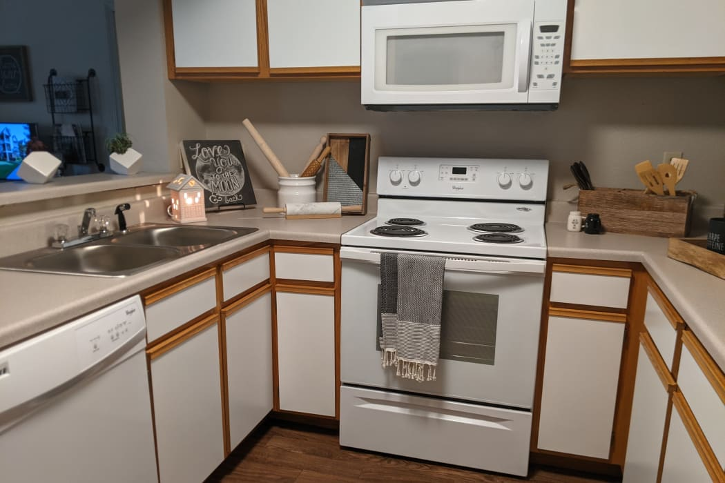 Fully equipped kitchen at Crown Chase Apartments in Wichita, Kansas