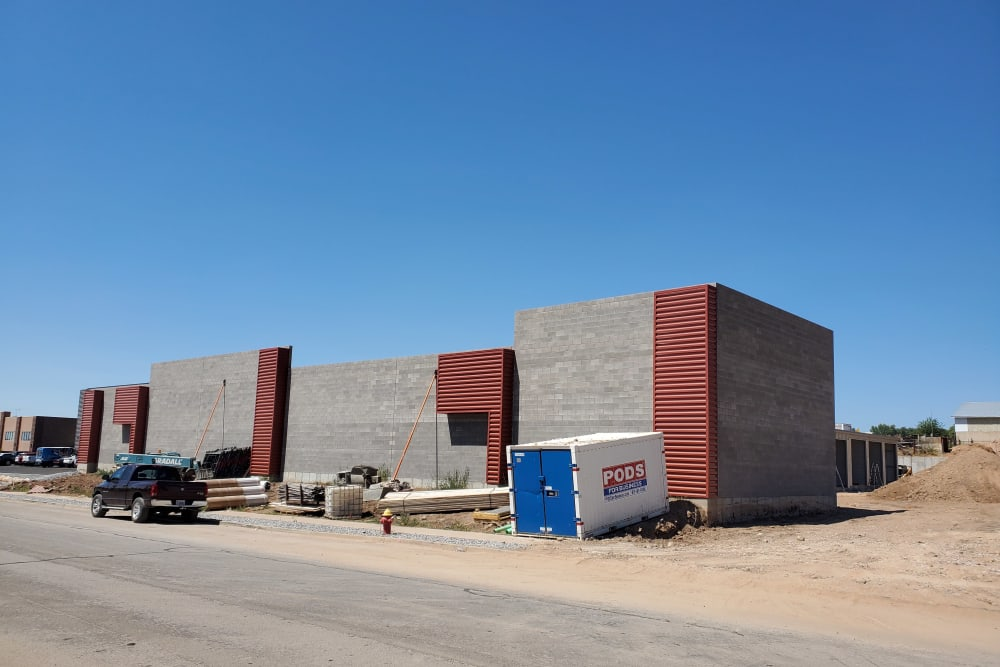 Construction on the office at Layton Boat and RV Storage in Layton, Utah