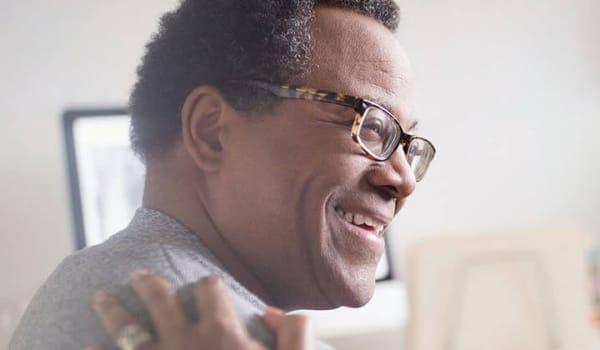A resident smiling at Anthology of Mason in Mason, Ohio
