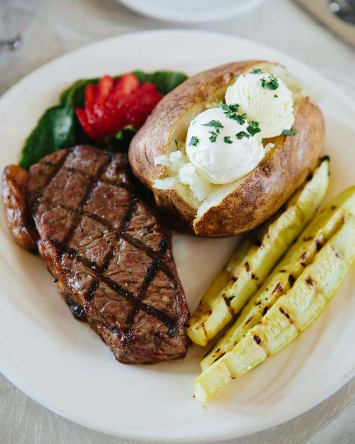 Delicious steak and potatoes meal at The Springs at Missoula in Missoula, Montana