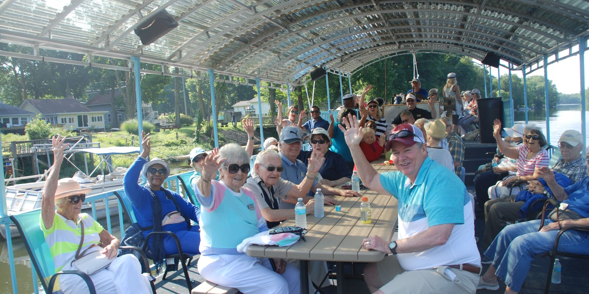 Residents from Ashton Gardens Gracious Retirement Living in Portland, Maine, on a boat ride