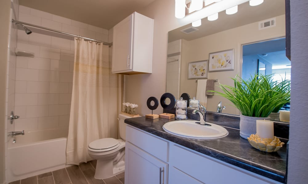 Decorated bathroom at Cottages at Tallgrass Point Apartments in Owasso, Oklahoma