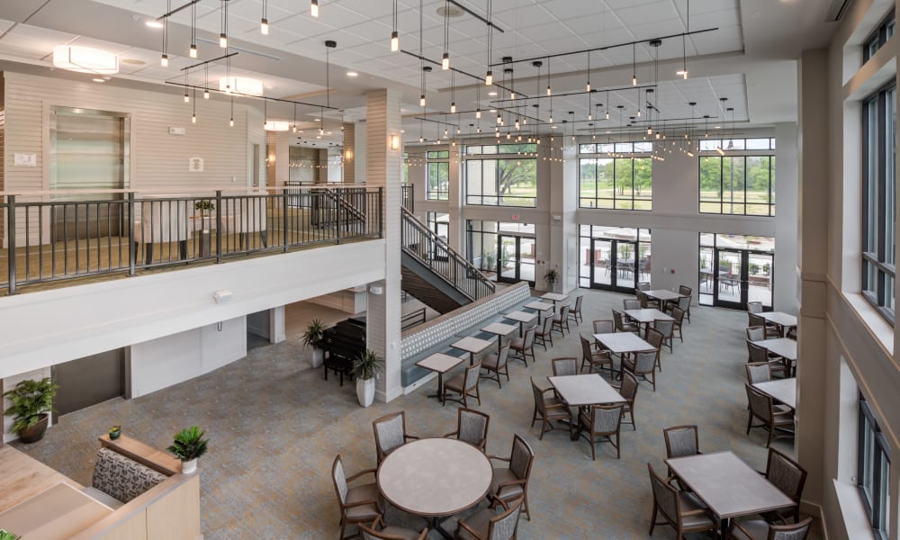 Top view of the dining room at Merrill Gardens at Columbia in Columbia, South Carolina.