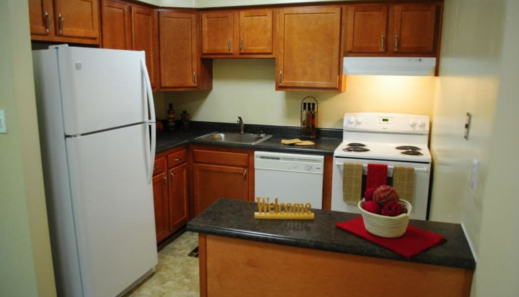 Kitchen in model home at Chapel Lake Apartments in Virginia Beach, VA