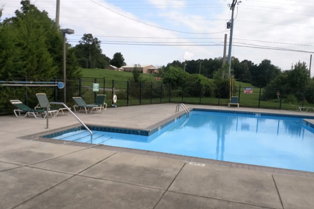 The community pool at Park Village Apartments in Athens, Tennessee
