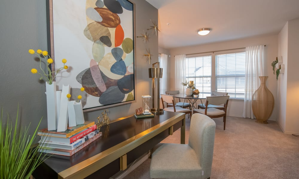 In-home office area at Portico at Friars Creek Apartments in Temple, Texas