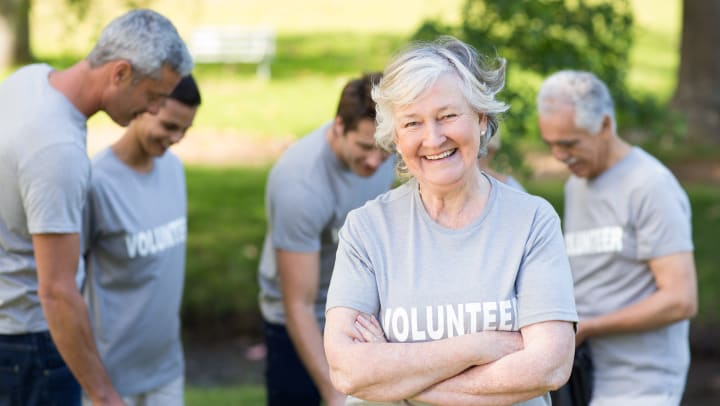 Residents at a volunteer event
