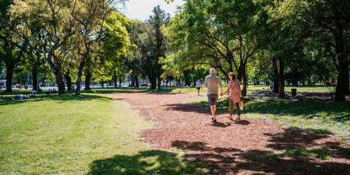 A couple walking at a park in  near Terrene at the Grove