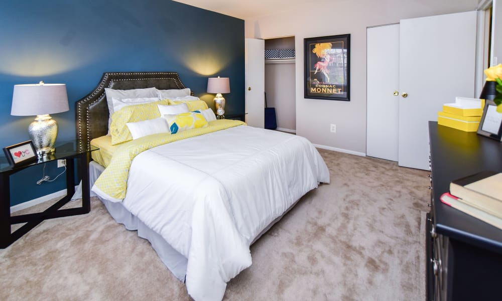 Beautiful bedroom at Montgomery Woods Townhomes in Harleysville, Pennsylvania