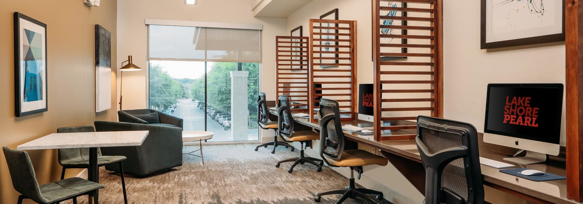 Business center with workstations for resident use at Lakeshore Pearl in Austin, Texas