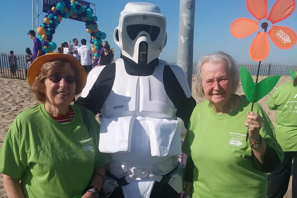 Resident at the Alzheimer's Walk on the beach in CA