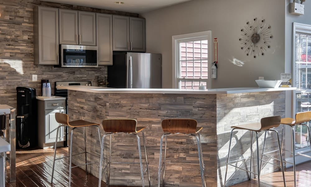 Resident Kitchen in Clubhouse at Abbotts Run Apartments in Alexandria, Virginia