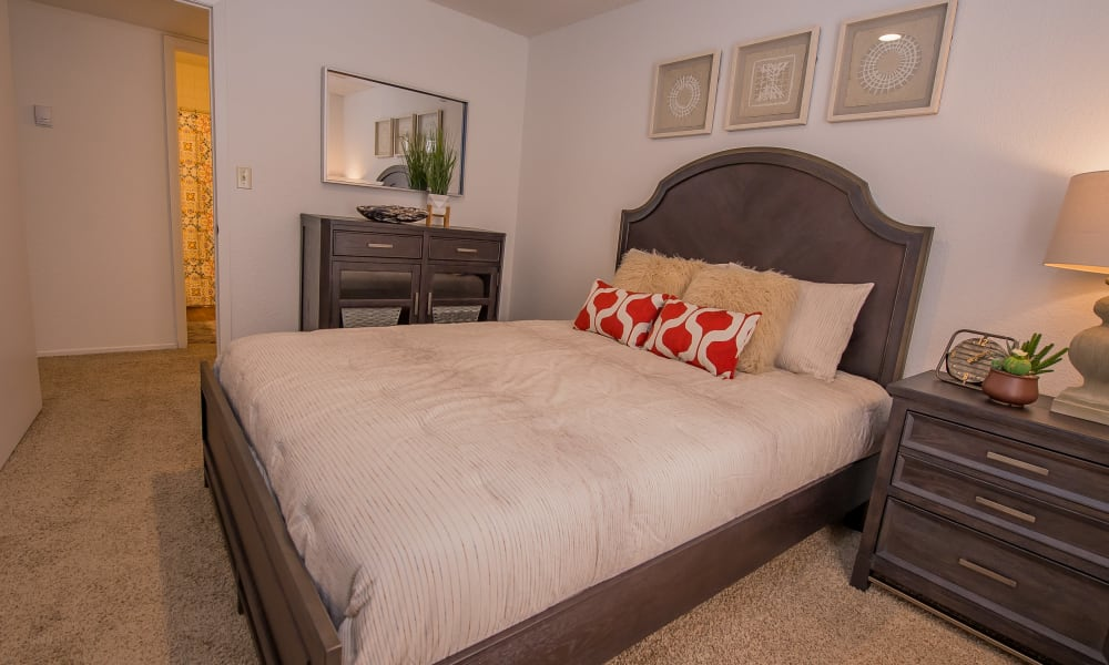 Bright bedroom at Windsail Apartments in Tulsa, Oklahoma