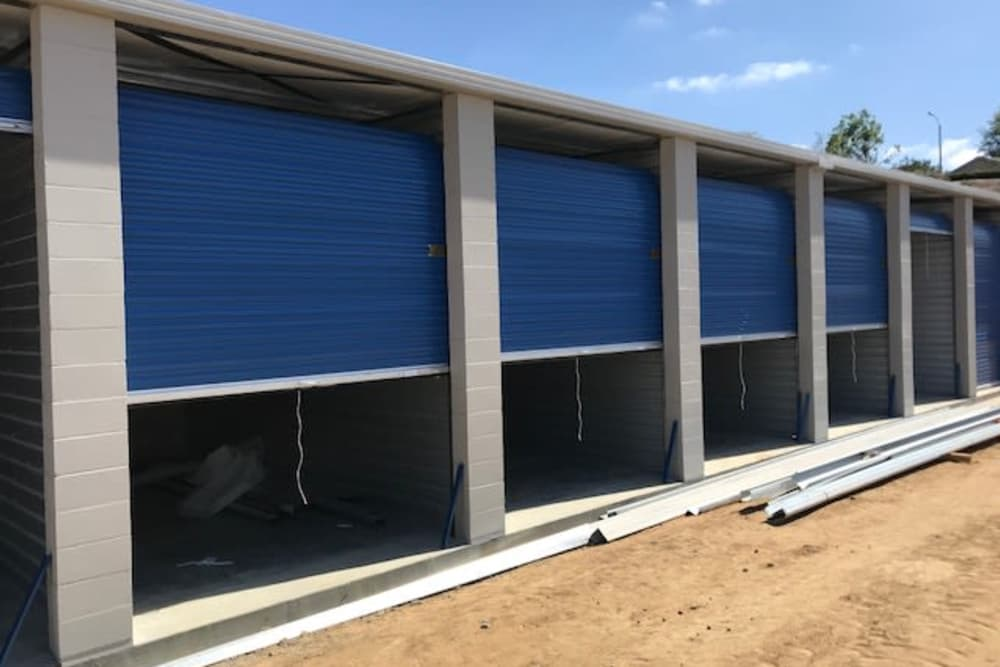 Silverhawk Self Storage will have blue roll-up doors!