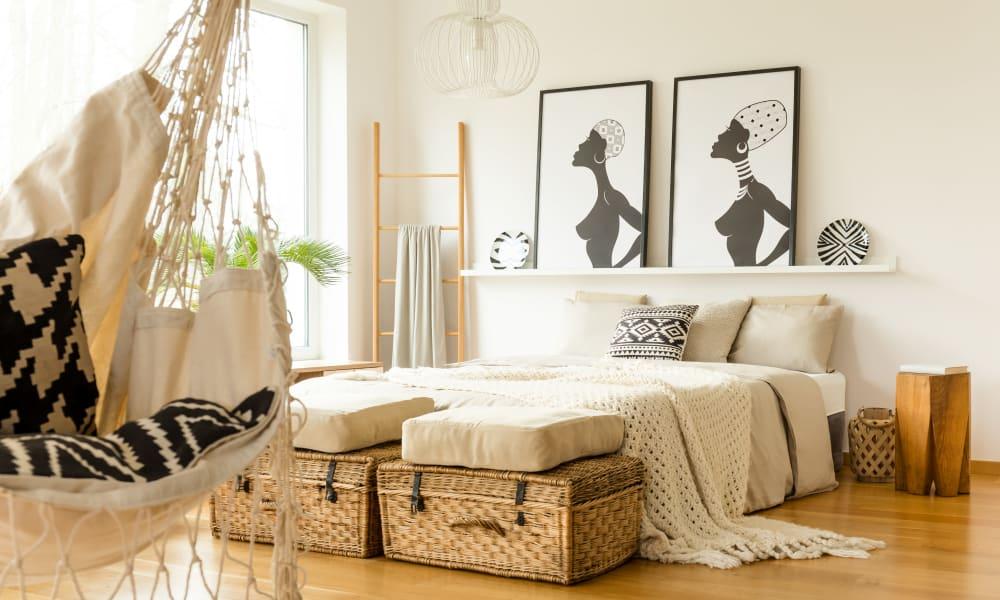 Modern bedroom at Telegraph Arts in Oakland, California
