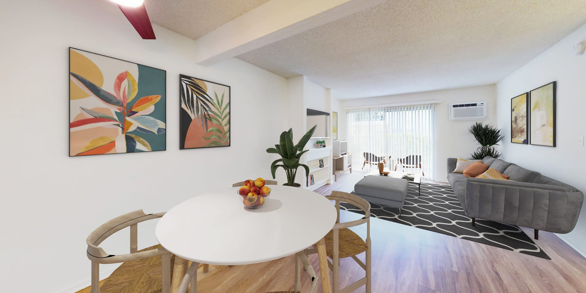 Spacious living areas in a one-bedroom apartment at Village Pointe in Northridge, California