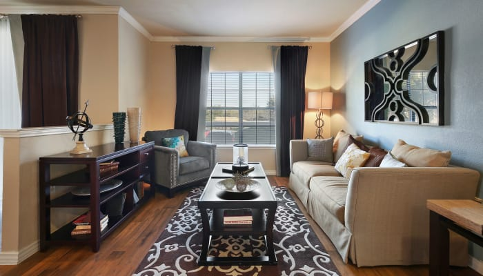 Spacious living room at The Lyndon in Irving, Texas